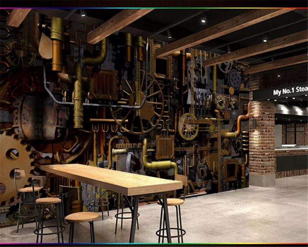 US $8 8 OFF Beibehang Wallpaper 3d On The Wall Vintage Wallpaper Engine Engine Gear Industrial Wind Decorative Mural Background Wall