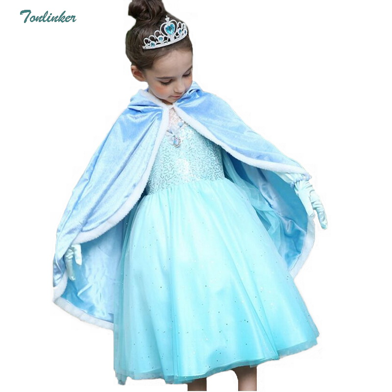 Princess Cinderella Cosplay Costume With Hooded Cape Birthday Fantasy Girls Cinderella Dress For 4 5 6 7 8 9 10 11 12y Children Dresses Mother & Kids