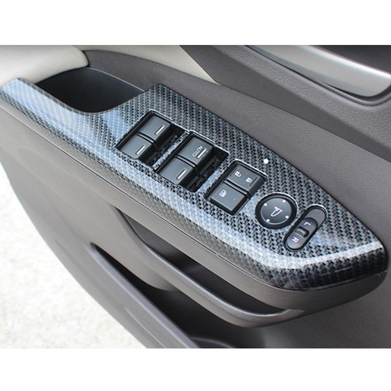 Yandex 4Pcs Carbon Fiber Interior Door Amrest Switch Panel Moulding Trim For Honda CRV CR-V 2012 2013 2014 2015 2016 yandex w205 amg style carbon fiber rear spoiler for benz w205 c200 c250 c300 c350 4door 2015 2016 2017