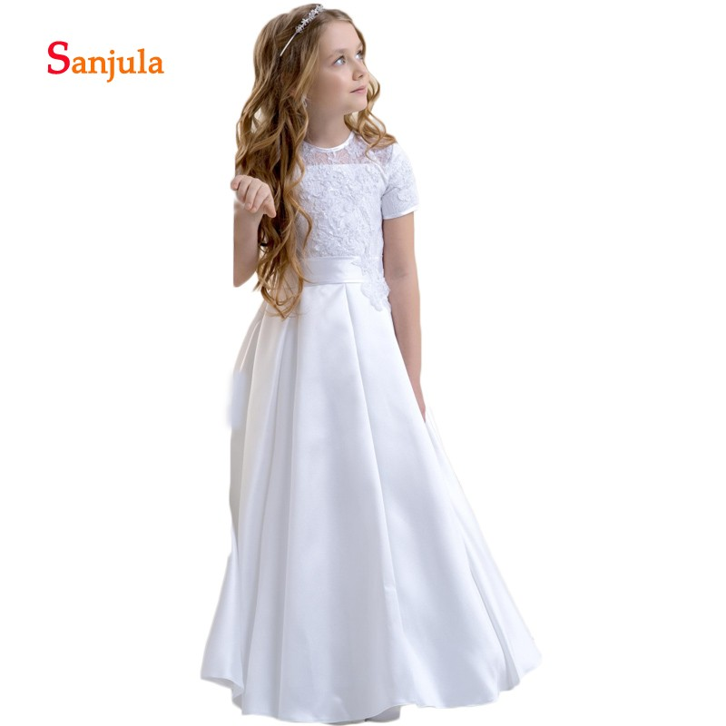Short Sleeve Satin Flower Girls Dresses A-Line Lace Wedding Party Dress for Child Appliques Back Bow Lovely Birthday Dress D177