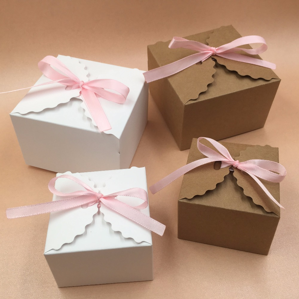 30pcslot Kraft Paper Square Candy Box Rustic Wedding Favors Candy