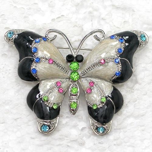 Rhinestone Enamel Butterfly brooch Pin C884 E
