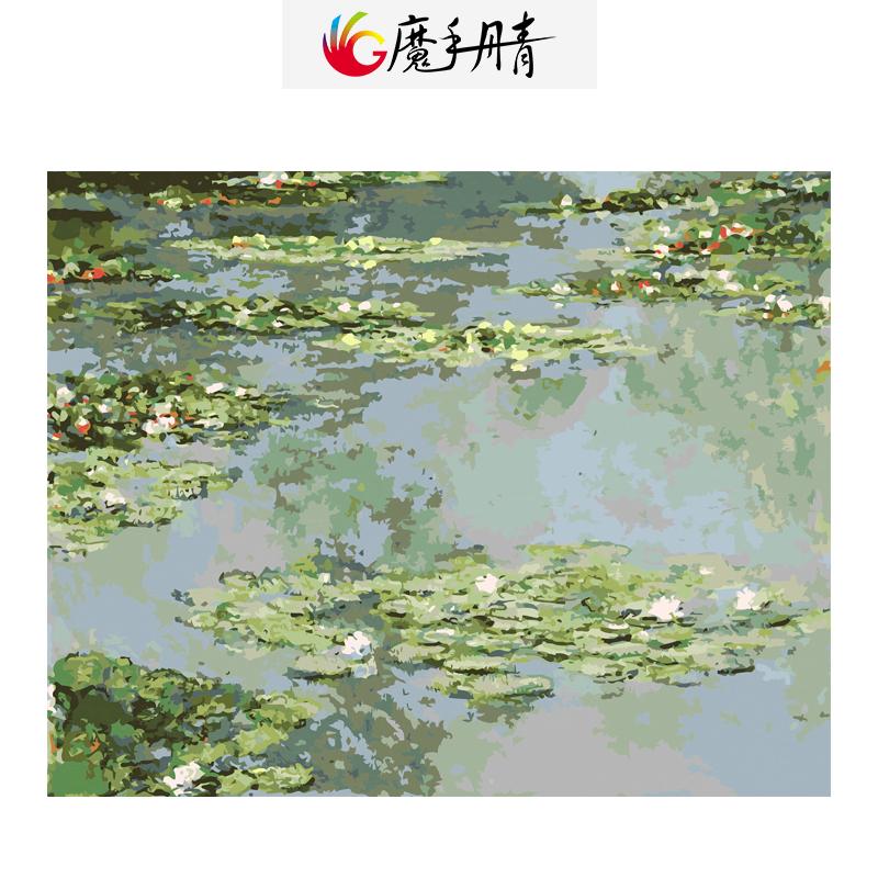 diy pintura dibujo pintura por nmeros de estanque de loto colorido lienzo decoracin del hogar sin marco pintado a mano por nm
