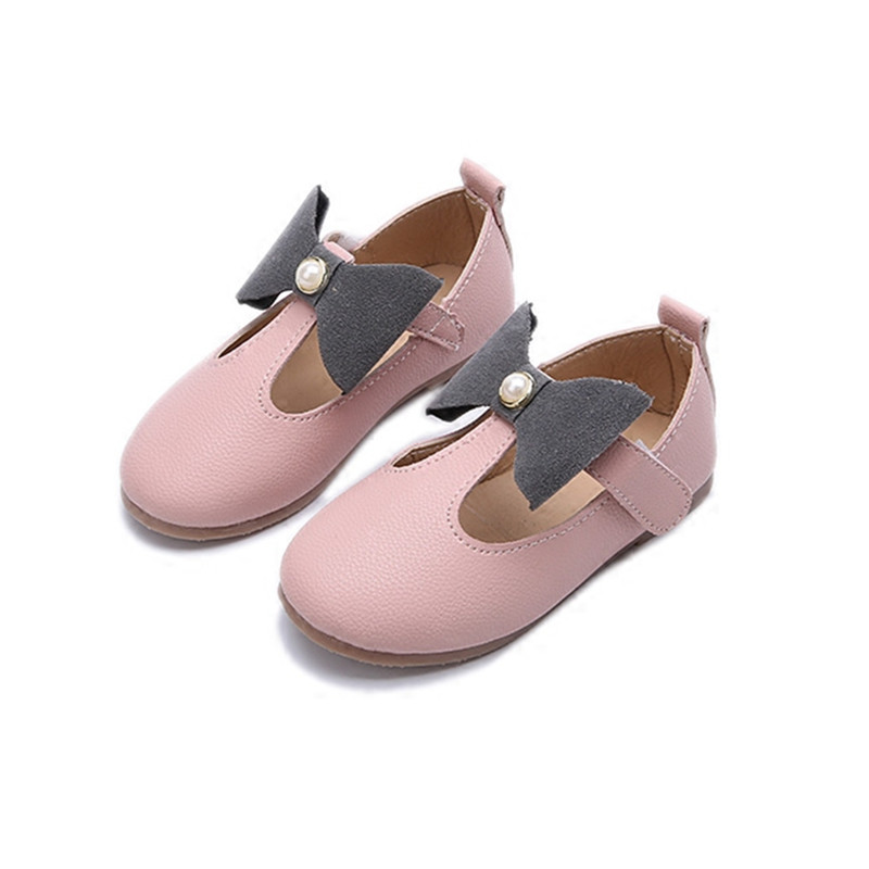 Children Girls Shoes 2018 Spring Bow Princess Shoes Kids Baby Fashion Single Leather Girl Shoes Party Cute Shoe Student