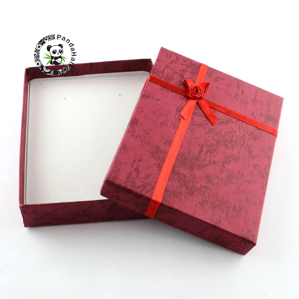 6pcs Jewelry Gift Boxes Cardboard Boxes with Flower and Sponge Inside, Rectangle, Red, 160x120x30mm