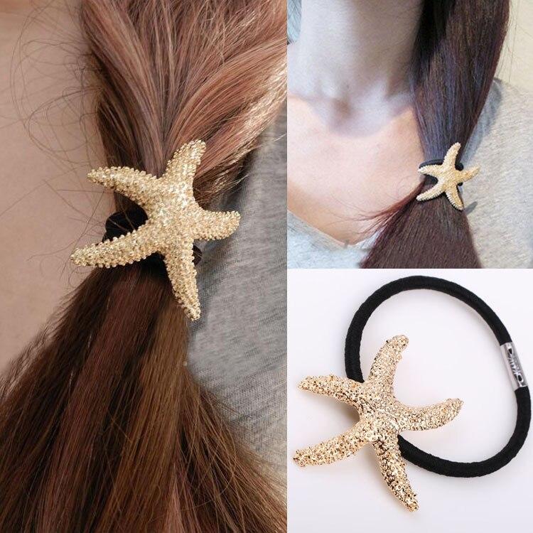 Новый 2018 уличный стиль Золотая Звезда образный металлический текстуру волос веревки волос кольцо Женские аксессуары для волос