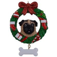 Yellow Pug Resin Shiny Christmas Ornament with Wreath Hand Painted and Easily Personalized as for Owners gifts or home decor