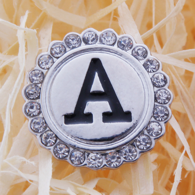 diy snaps 18MM letter snaps buttons jewelry interchangeable rhinestone snap button charm  initial A-Z alphabet letter snaps