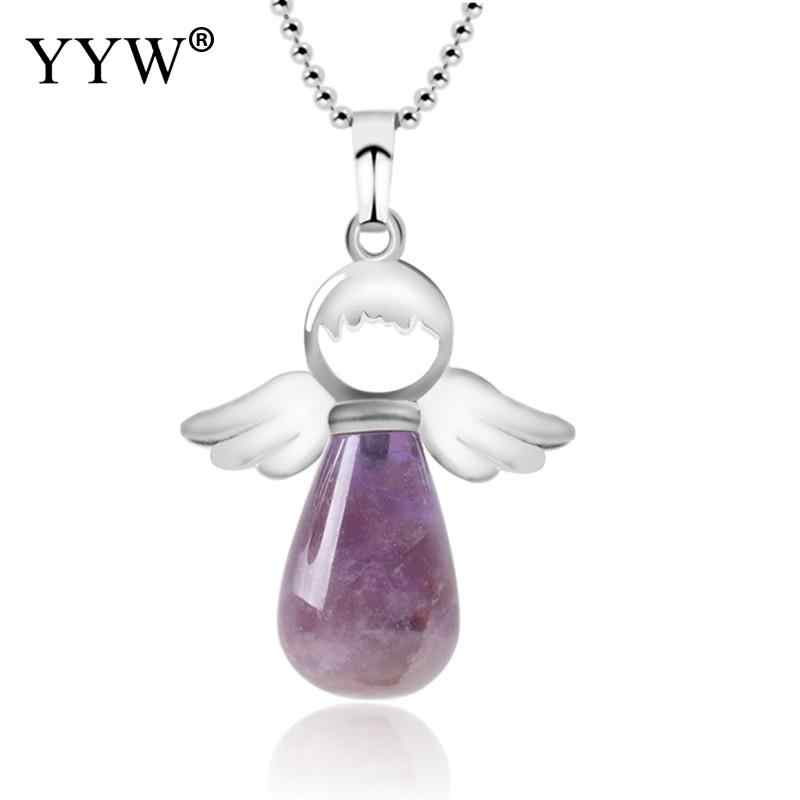 YYW Angel Wings Pendant Necklace Natural Stone Pink Quartz Onyx Silver Color Water Drop Pendants Female Jewelry Gift Pendulum