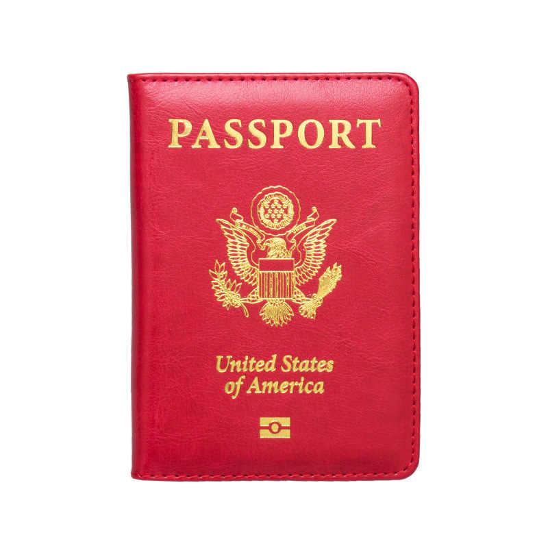 Hohe Qualität USA Passport Abdeckung Rosa Frauen Nette Amerika Emblem Reisepass Halter SIM Mädchen Weichen PU Leder Reisepass Fall
