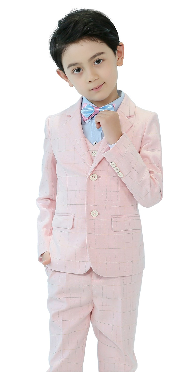 5 Piece Boys Pink Plaid Suits Slim Fit Ring Bearer Suit For Boys Formal Classic Costume Weddings цена 2017