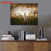 Horses running poster frameless animal DIY digital painting by numbers kits acrylic color drawing for living room