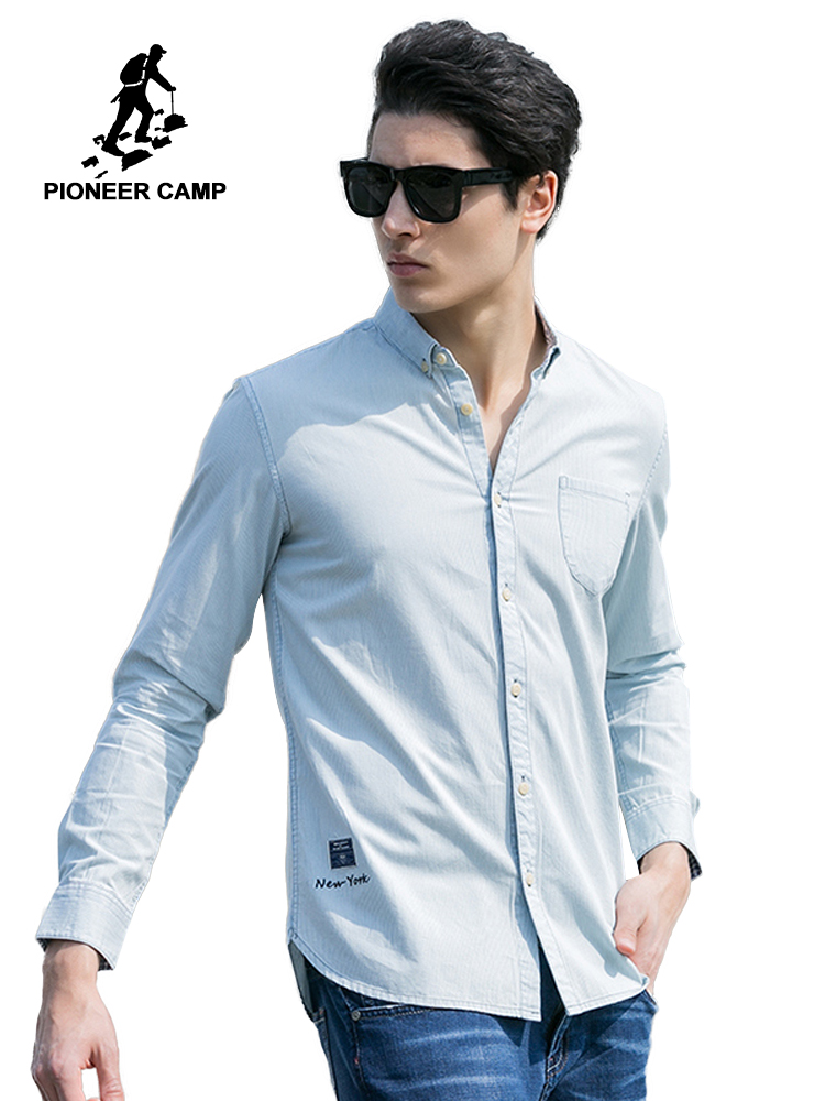 Pioneer Camp 2018 nové módní pánské košile pevný štíhlý fit - Pánské oblečení