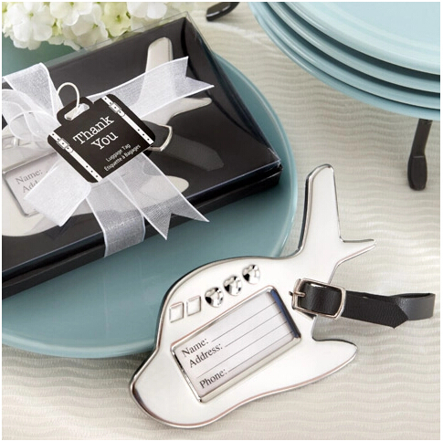 Retail 10pcs/lot Alloy Material Luggage Tag Airplane Design Wedding Party Souvenirs Gifts For Guest