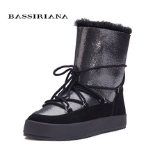 Botas de nieve de oveja auténtica para mujer, zapatos de invierno, color negro, blanco, azul, 35 40, envío gratis, BASSIRIANA