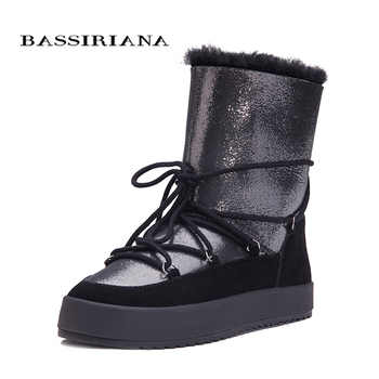 Winter boots shoes woman Genuine shearling snowboots Black White Blue 35-40 Free shipping BASSIRIANA - DISCOUNT ITEM  55% OFF Shoes