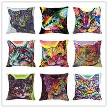 Estilo dos desenhos animados Decor Cotton Linen Almofada Multicolor Padrão Gato Impressão Sofá Throw Pillow Praça Home Decor Cojines