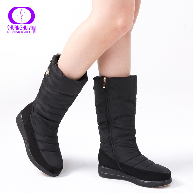 1da479982e723 AIMEIGAO New Arrival Warm Fur Snow Boots Women Plush Insole Waterproof Boots  Platform Heels Mid calf Black Boots High Quality -in Mid-Calf Boots from  Shoes ...