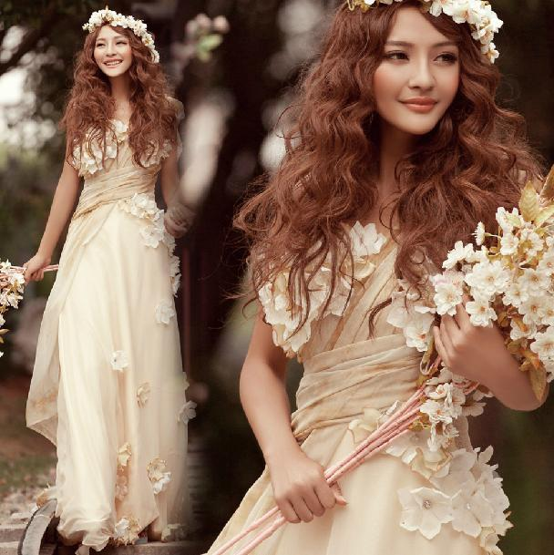 Champagne Color Floor Length Greek Style Goddess Royal Wedding Party ...