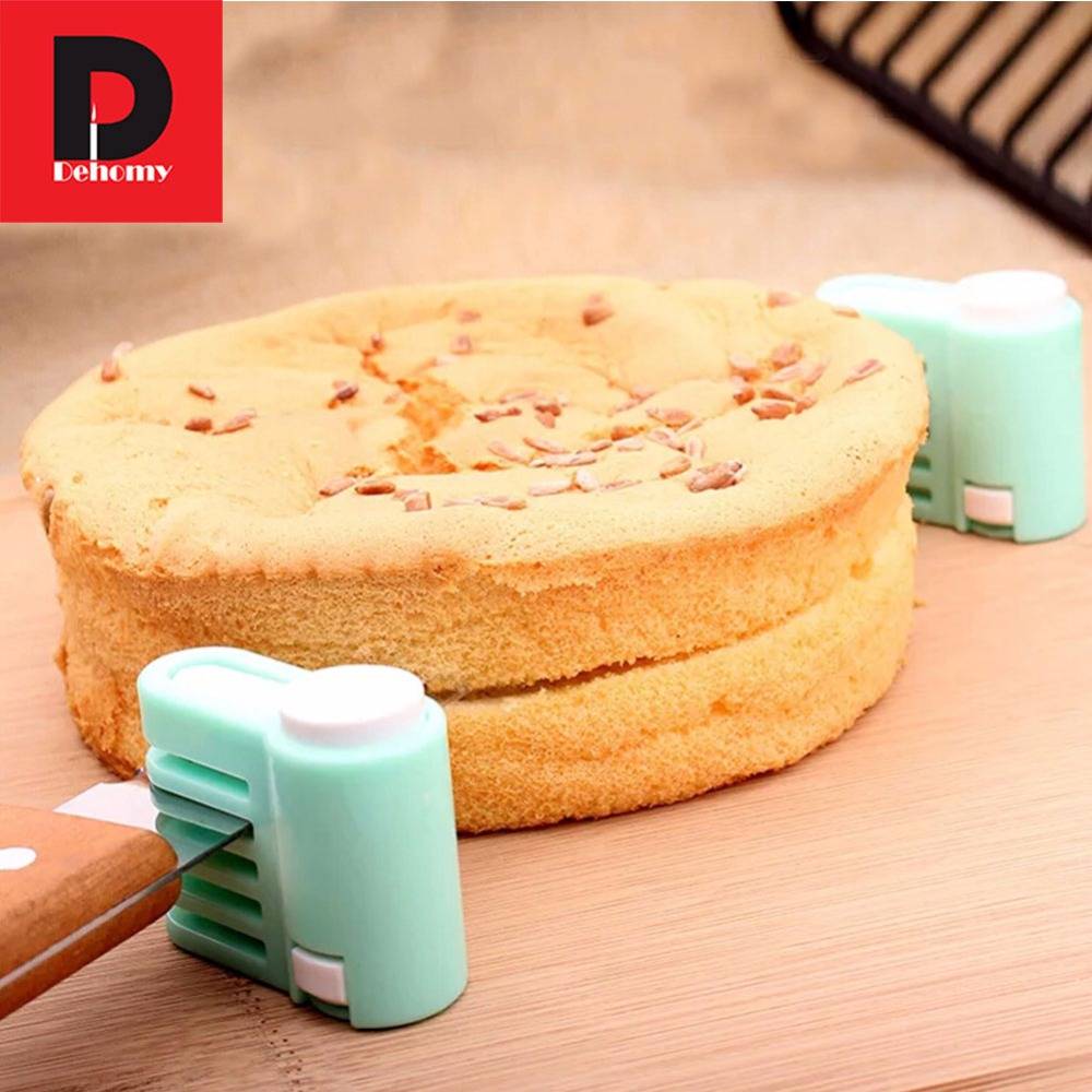 Dehomy Manual Slicers 2 PCS DIY 5 Layers FoodGrade Plastic Cake Bread Leveler Slicer Cutting Fixator