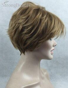 Image 3 - Güçlü Güzellik Sentetik Peruk Kadın Kısa Düz Peruk Kesim Saç Kadın Saç Seçmek Için Birçok Renk