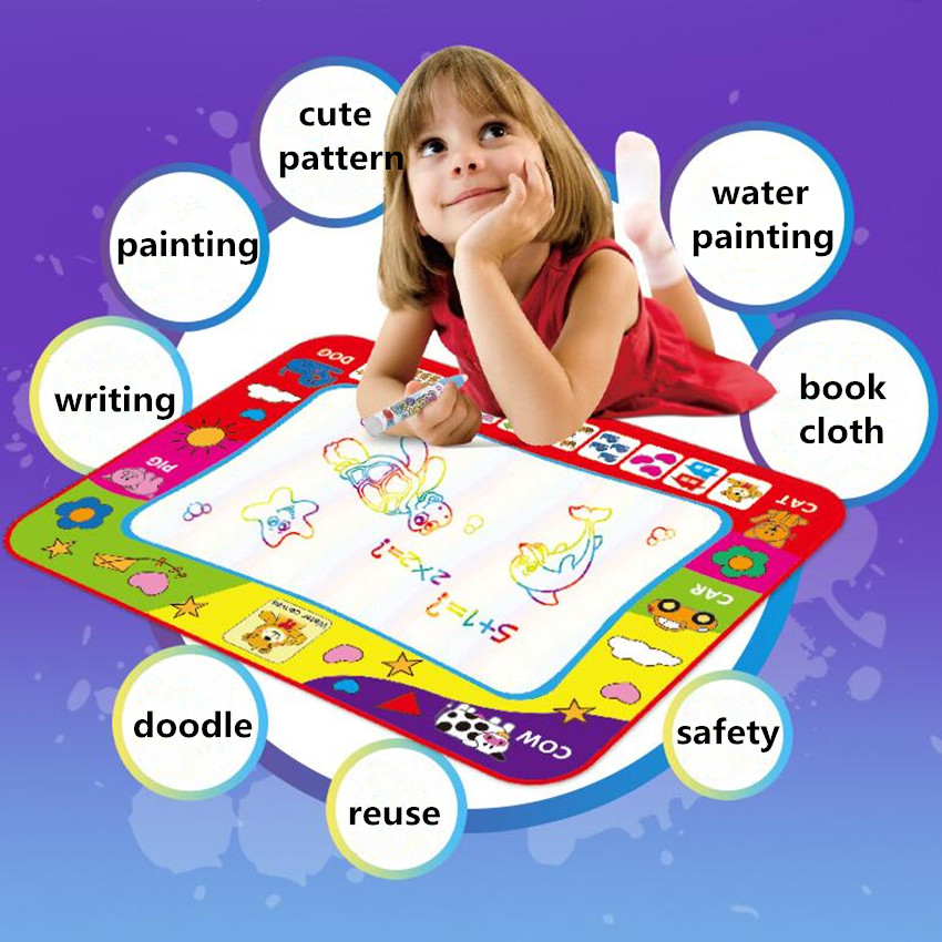 New Kids Magic Water Drawing Cloth With Pen Animal Coloring Water Painting Mat Graffiti Doodle Pen Education Toy