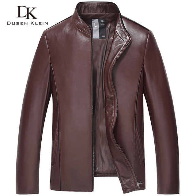 2017 New sheep skin leather jacket young men Slim casual men's leather outer coats black/wine red 16H9903