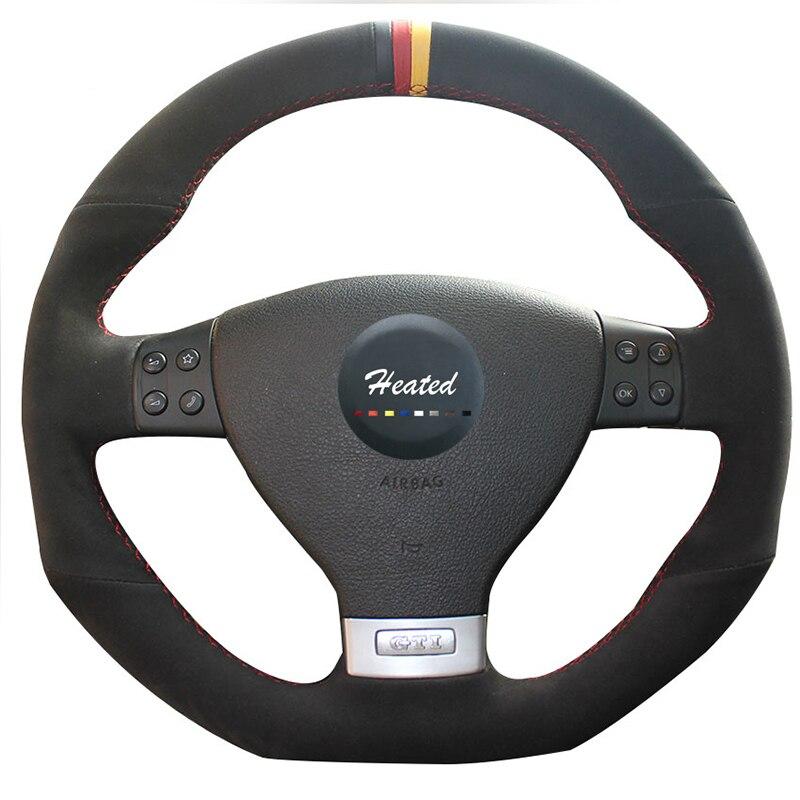 Tresse sur le couvre-volant pour Volkswagen Golf 5 Mk5 GTI VW Golf 5 R32 Passat R GT 2005 capa para volante