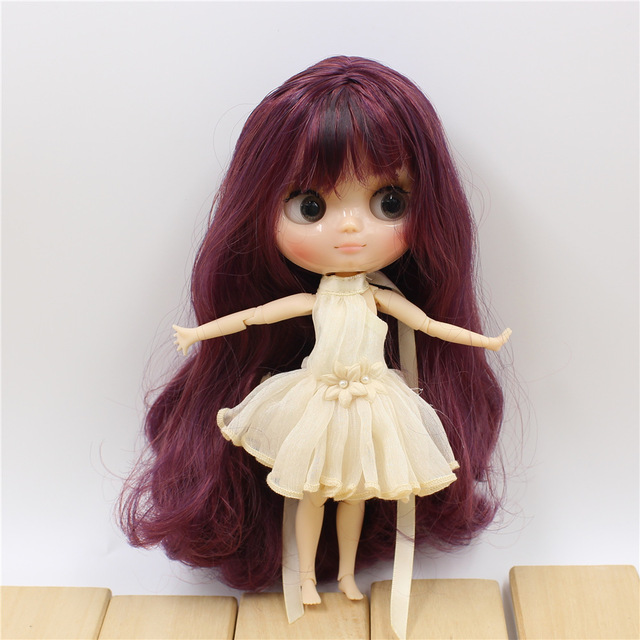 Middie blyth nude doll 20cm JOINT body shine face with makeup gray eyes DIY toys gift with gestures Free shipping