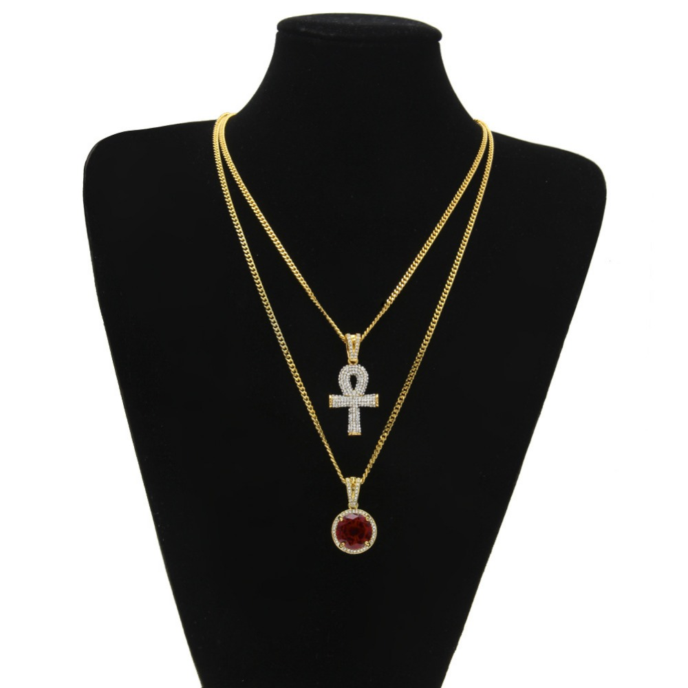 New Hip Hop Gem Pendant Rhinestone Key Red Jewel Necklace Set