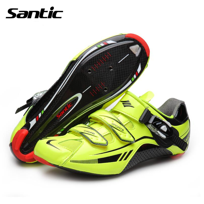 все цены на  Santic Men Pro Cycling Shoes Ultra-light Carbon Fiber Bottom Road Bike Lock Shoes Breathable Cycling Shoes Scarpe Ciclismo  онлайн