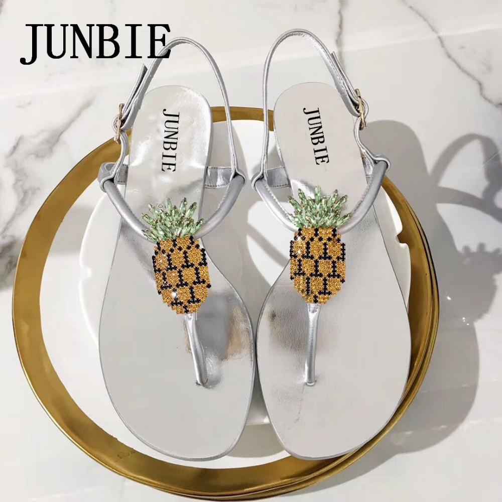 JUNBIE 2018 New Gold Black Genuine Leather Pineapple Design Women Flats Sandals Open Toe Buckle Strap Women Sandals Shoes Women stylish women s sandals with black colour and double buckle design