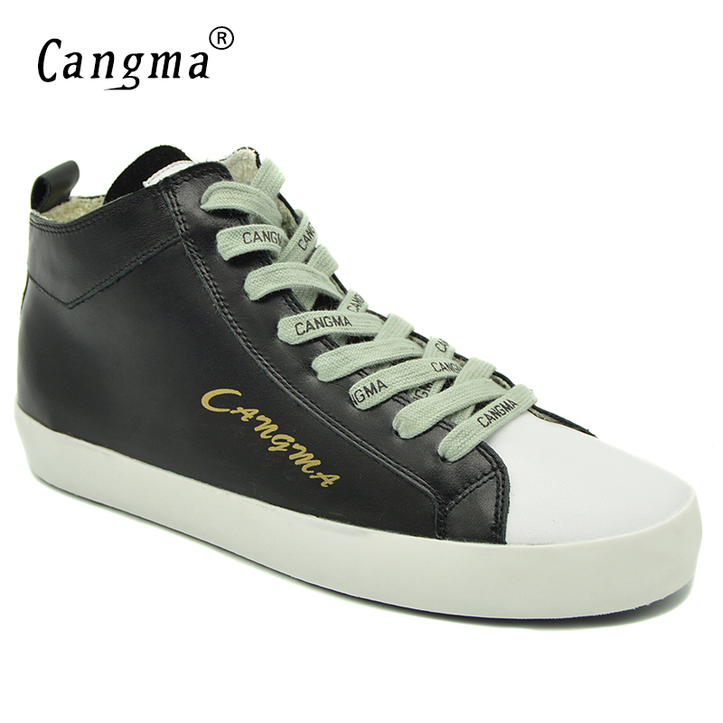 CANGMA Original Brand Sneakers Women Shoes Mid Black Flats Ladies Casual Shoes Genuine Leather Woman's Lace Up Autumn Footwear cangma superstar italian luxury brand shoes for woman genuine leather women casual orange silver classic shoes schoenen vrouwen