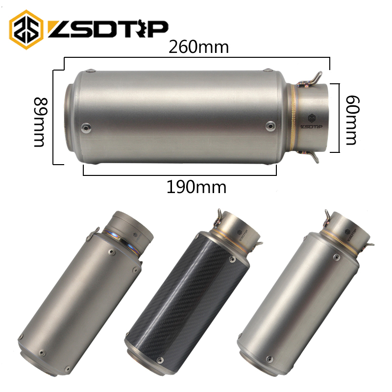 ZSDTRP 60mm Motorcycle Exhaust Modified Scooter SC Muffle Fit For ZX6R CBR1000 Z1000 KTM S1000 Titanium Alloy