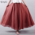 Women's Elegant High Waist Linen Long Skirt 2016 Summer Ladies Casual Elastic Waist 2 Layers Skirts saia feminina 12 Colors SK53