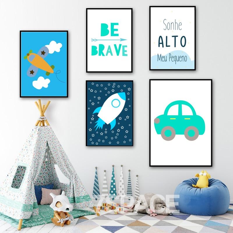 COLORFULBOY Raketa letala Car Brave Quote Wall Art Print Canvas - Dekor za dom