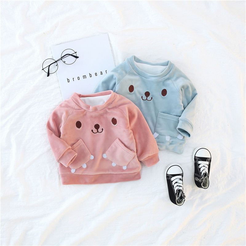 2pc Toddler kids baby boy Girl Little Bear warm coat Tops+pants clothes set