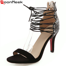MoonMeek 2019 new summer sandals ankle strap ladies prom wedding shoes