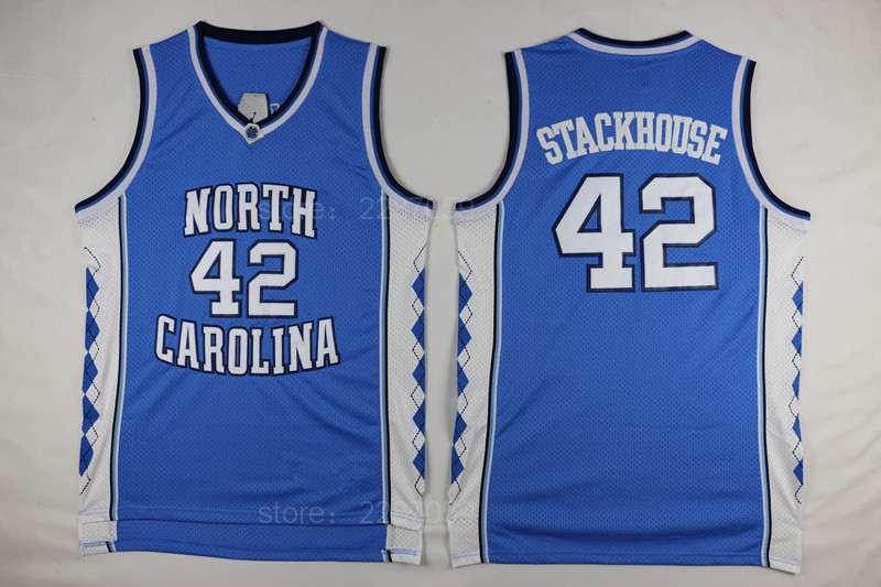 ediwallen north carolina tar heels college 42 jerry stackhouse basketball jerseys cheap blue white b