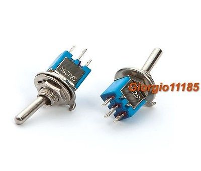 100 pcs Blue Mini SPDT Guitar Toggle Switch ON-ON DIY bqlzr dc12 24v blue pattern switch s ot winch power toggle switch for old style toyota