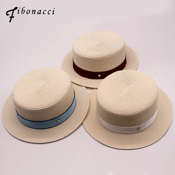 Fibonacci marca calidad 2018 nuevos sombreros planos de paja verano moda de  playa sombrilla femenina sombrero de sol 8c020a24350