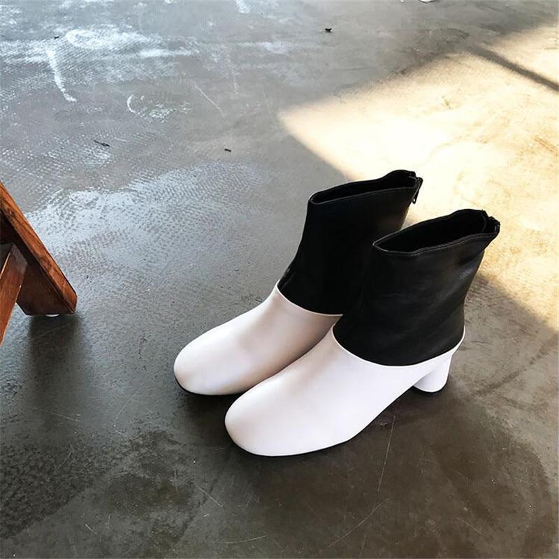 Patchwork Cheville En Au Glissière Femmes Rond Nouvelle Véritable As Cuir Arrivée Dos Med Bout Show Femme Mode Ronde Talons Bottes Hiver Chaussures uOZXTPki