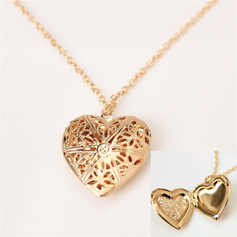 Women Girls Gold/Silver Opening Necklace Heart Photo Necklaces Neck Elegant Retro Party High Quality Fashion Accessories Pendant Ожерелье