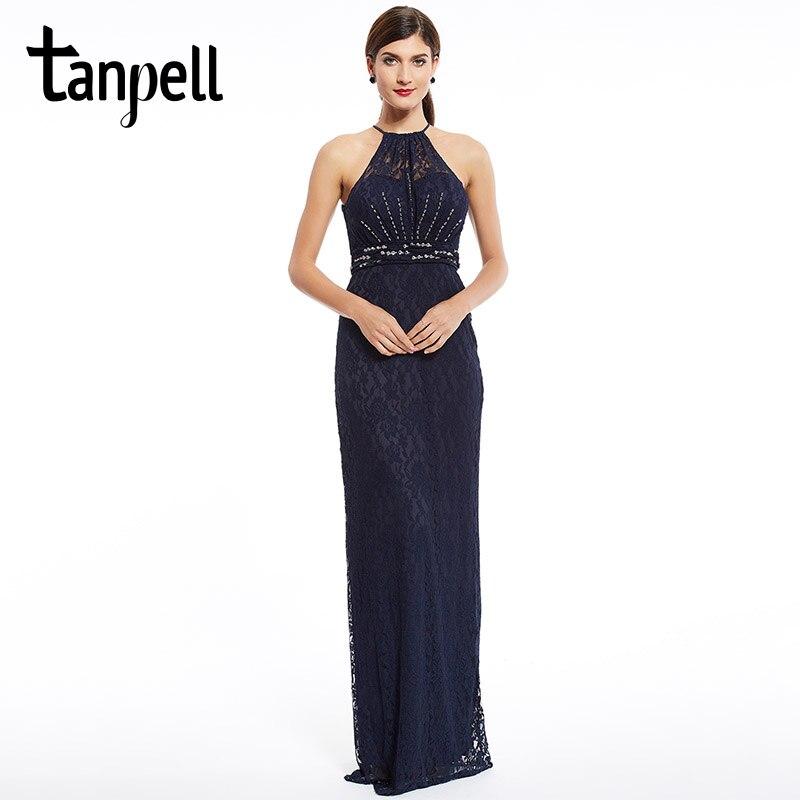 Tanpell halter evening dress sexy black sleeveless a line floor length dresses dark navy beaded lace long straight evening dress
