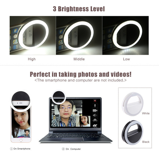 Clip On Mobile Selfie Ring Light Led Crazy Things Shop
