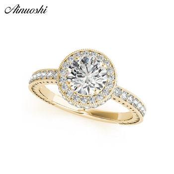 Classic 925 Sterling Silver Yellow Gold Color Round Cut 1ct Ring Women Engagement Anniversary Princess Halo Silver Ring