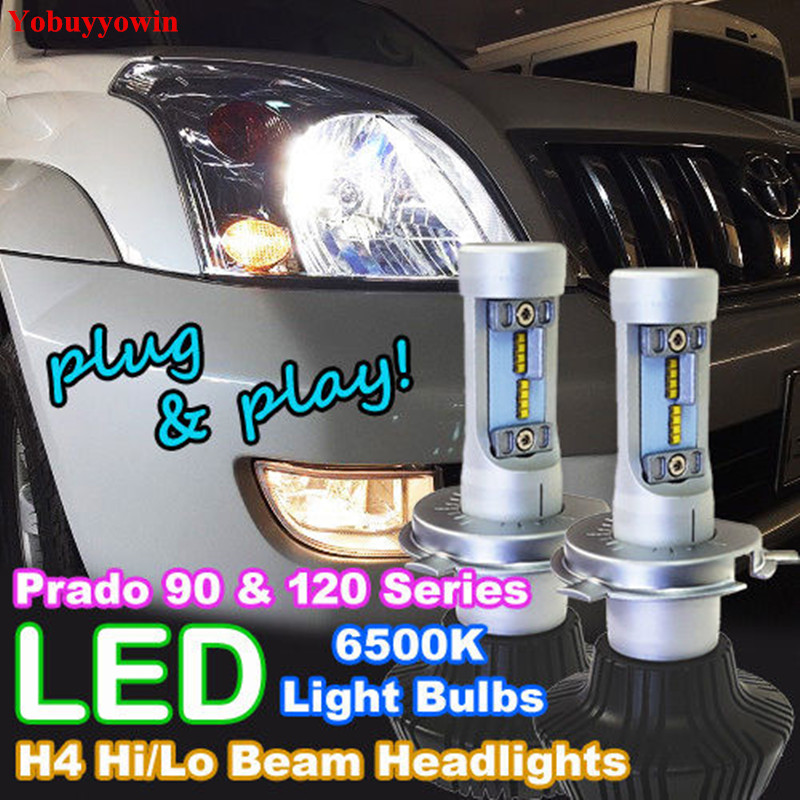 High Power H4 LED Headlight Bulbs 9003 HB2 160W 16000LM White High/Low Beam Bulbs For Toyota Prado 90 120 Series Landcruiser 6th 80w led headlight conversion kit h4 9003 hb2 led bulbs high low beam super bright lamp