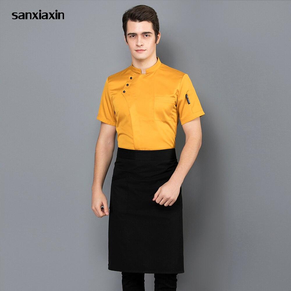 New Unisex Short Sleeved Chef Jacket Hotel Restaurant Kitchen Chef Uniform Chef Work Clothes Wholesale Restaurant Uniform Shirt