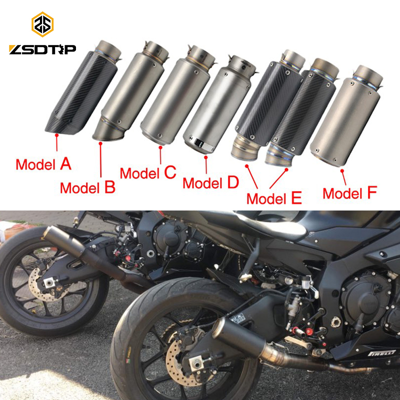 ZSDTRP 51/60mm Inlet Motorcycle Scooter Motocross Exhaust Muffler Dirt Pit Bike SC GP Racing Exhaust Muffler GSXR NINJA 51mm 61mm inlet motorcycle slip on exhaust escape moto stainless steel racing bike exhaust 600cc gy6 scooter dirt pit bike sc016