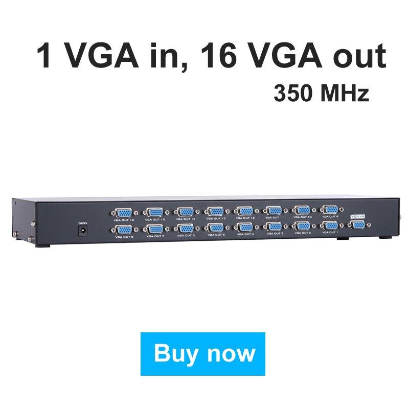 MT VIKI 16 Port VGA Splitter 350MHz 1 Input to 16 Output Multiple Video Distributor for